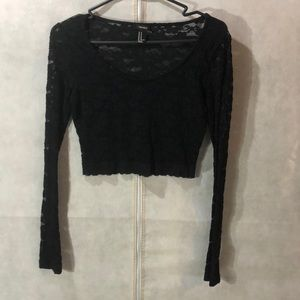 Black, lace, long sleeve, crop top